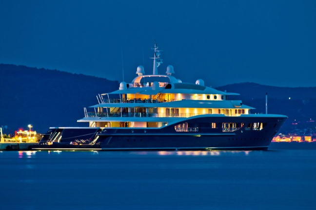 Luxury yacht blue evening view
